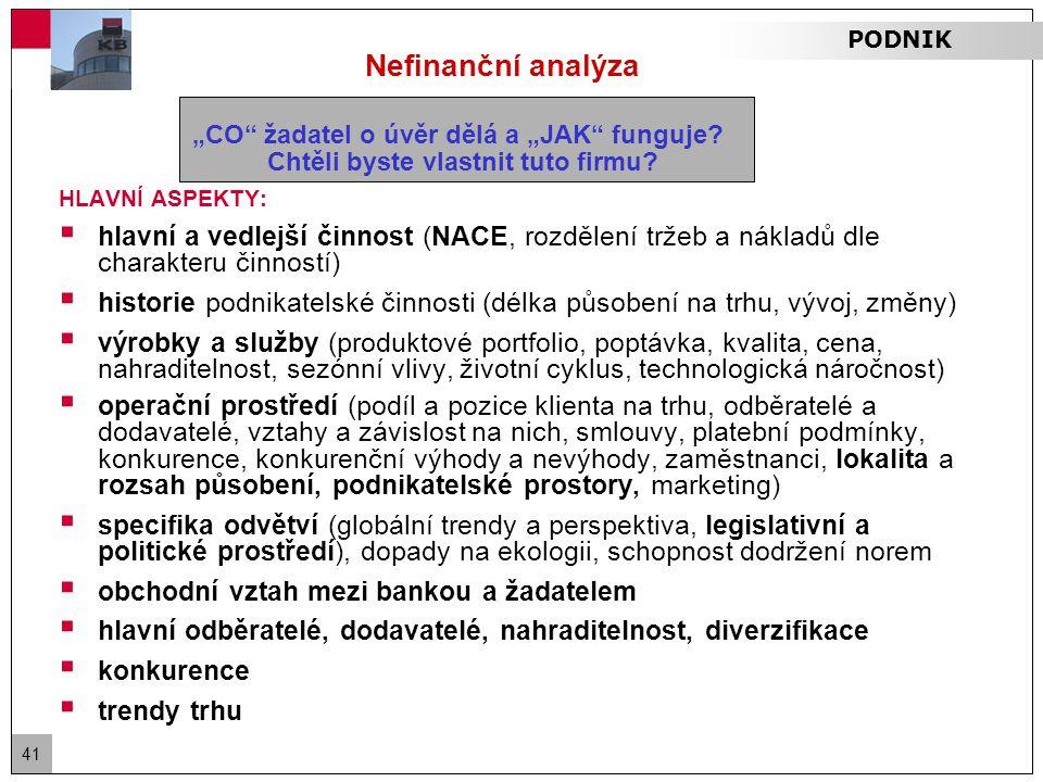 """41 Nefinanční analýza """"CO žadatel o úvěr dělá a """"JAK funguje."""