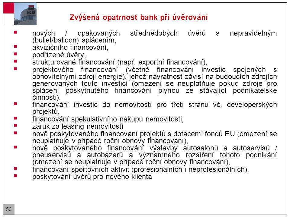 50 Zvýšená opatrnost bank při úvěrování  nových / opakovaných střednědobých úvěrů s nepravidelným (bullet/balloon) splácením,  akvizičního financování,  podřízené úvěry,  strukturované financování (např.