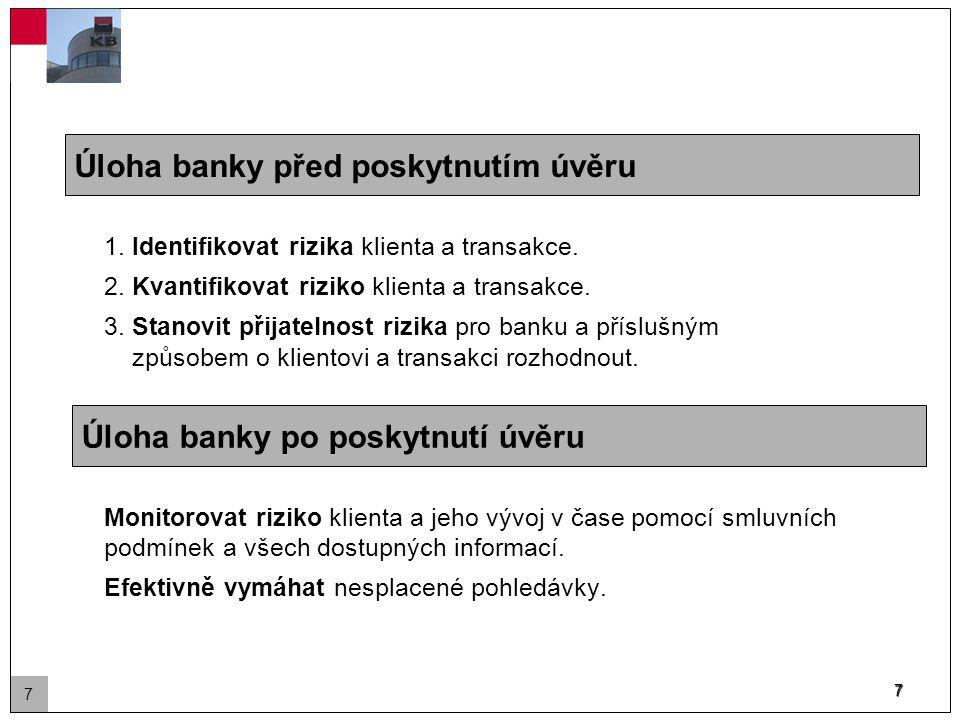 7 Úloha banky před poskytnutím úvěru 1. Identifikovat rizika klienta a transakce.