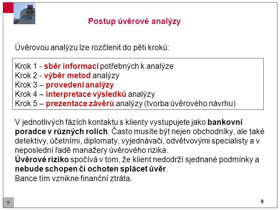 9 Postup úvěrové analýzy Úvěrovou analýzu lze rozčlenit do pěti kroků: Krok 1 - sběr informací potřebných k analýze Krok 2 - výběr metod analýzy Krok 3 – provedení analýzy Krok 4 – interpretace výsledků analýzy Krok 5 – prezentace závěrů analýzy (tvorba úvěrového návrhu) V jednotlivých fázích kontaktu s klienty vystupujete jako bankovní poradce v různých rolích.