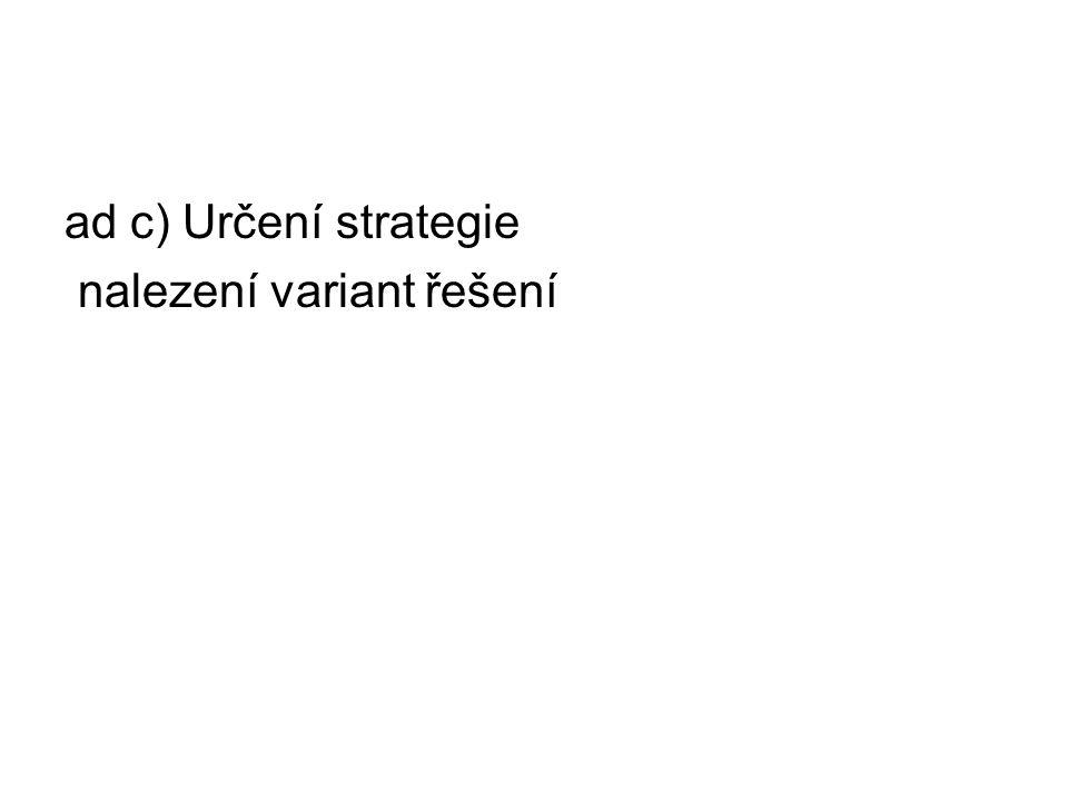 ad c) Určení strategie nalezení variant řešení