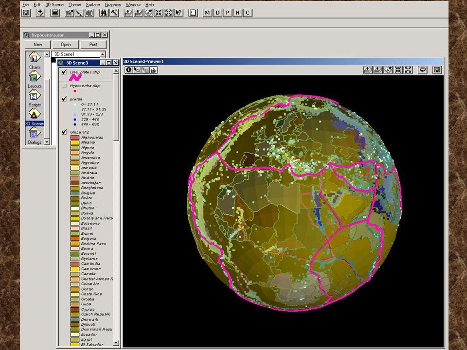 Zobrazení s podkladovou mapovou vrstvou Využití produktu ESRI – ArcScene Využití modulu Build A Surface On A Sphere – převod rastru na kouli Velmi náročné na HW je současné zobrazení všech jevů a map.podkladu Zobrazení – viz následující příklady