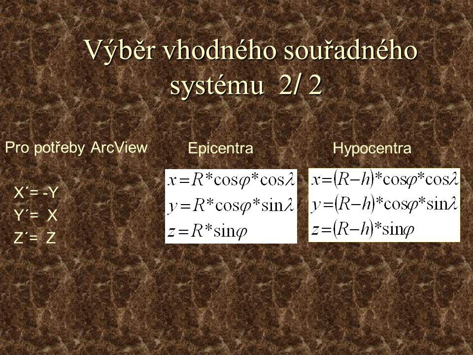 Výběr vhodného souřadného systému 2 / 2 Výběr vhodného souřadného systému 2 / 2 Pro potřeby ArcView X´= -Y Y´= X Z´= Z Epicentra Hypocentra