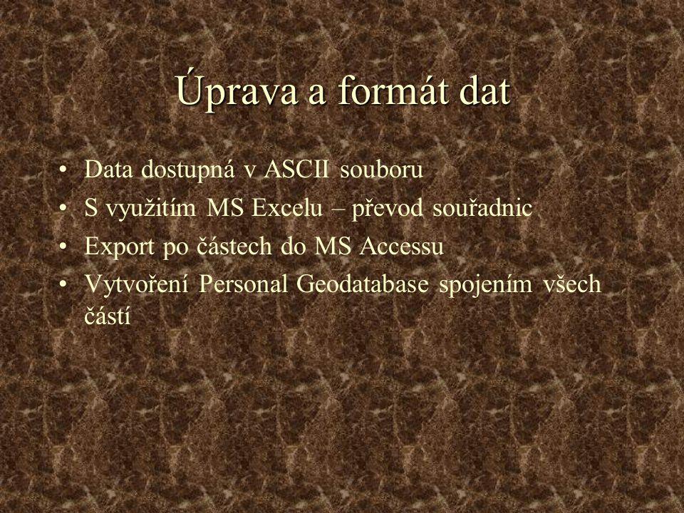 Úprava a formát dat Data dostupná v ASCII souboru S využitím MS Excelu – převod souřadnic Export po částech do MS Accessu Vytvoření Personal Geodatabase spojením všech částí
