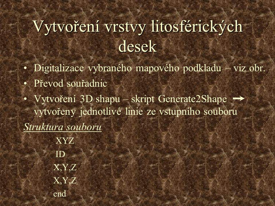 Vytvoření vrstvy litosférických desek Digitalizace vybraného mapového podkladu – viz obr.