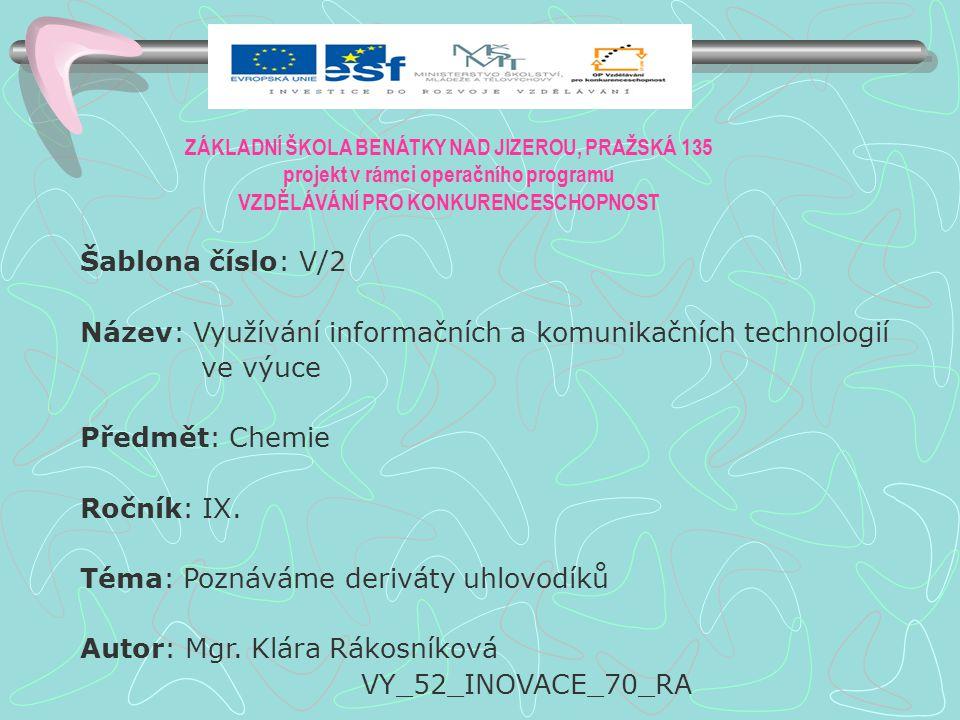 Anotace: PowerPointová prezentace o halogenových derivátech uhlovodíků Klíčová slova: Uhlovodík, derivát, halogen, teflon, freon