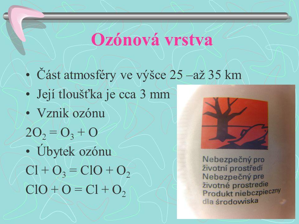 Ozónová vrstva Část atmosféry ve výšce 25 –až 35 km Její tloušťka je cca 3 mm Vznik ozónu 2O 2 = O 3 + O Úbytek ozónu Cl + O 3 = ClO + O 2 ClO + O = Cl + O 2