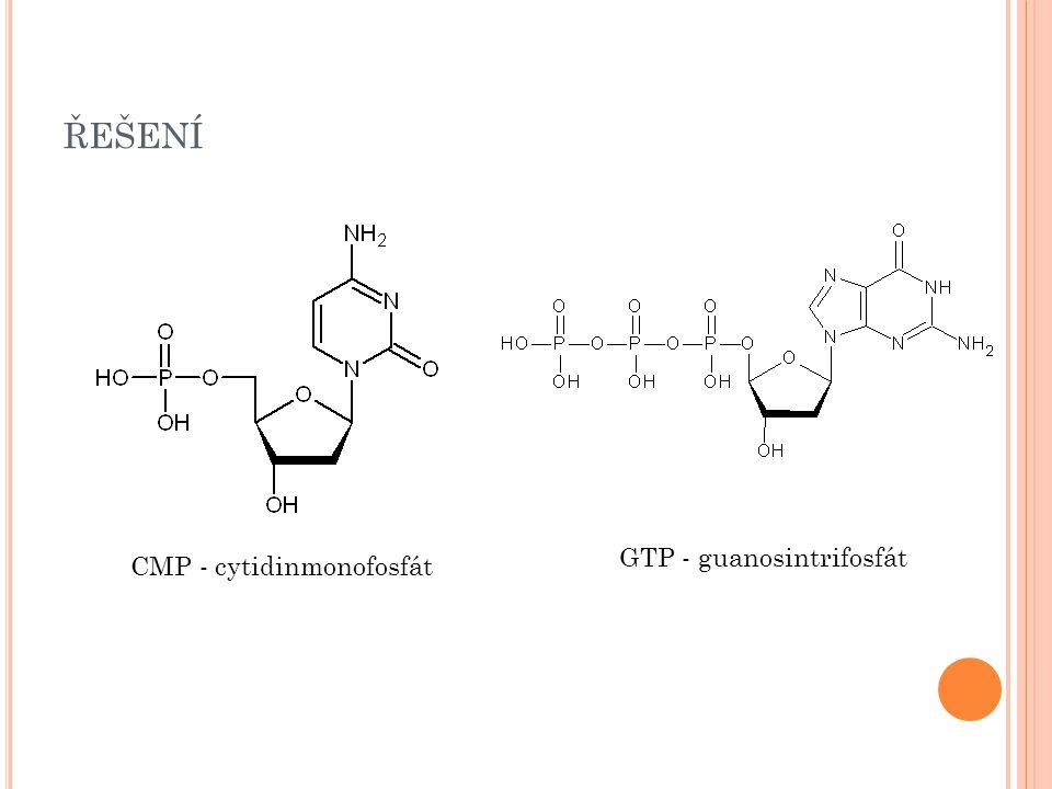 ŘEŠENÍ CMP - cytidinmonofosfát GTP - guanosintrifosfát