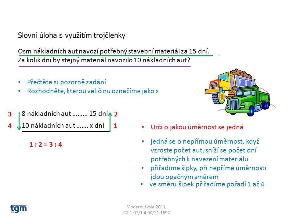 Moderní škola 2011, CZ.1.07/1.4.00/21.1692 Osm nákladních aut navozí potřebný stavební materiál za 15 dní. Za kolik dní by stejný materiál navozilo 10