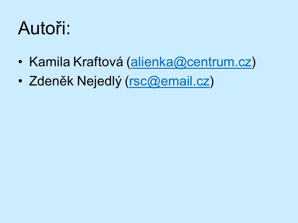 Autoři: Kamila Kraftová (alienka@centrum.cz)alienka@centrum.cz Zdeněk Nejedlý (rsc@email.cz)rsc@email.cz
