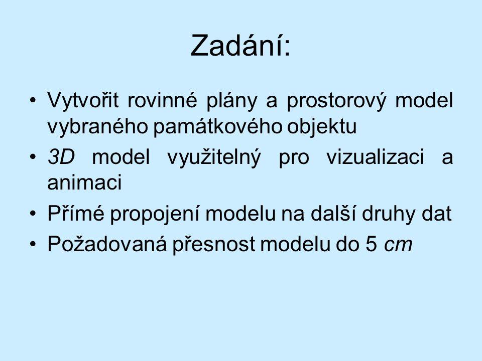 Zadání: Vytvořit rovinné plány a prostorový model vybraného památkového objektu 3D model využitelný pro vizualizaci a animaci Přímé propojení modelu na další druhy dat Požadovaná přesnost modelu do 5 cm