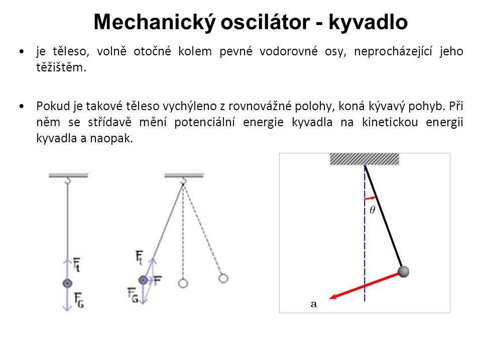 Mechanický oscilátor - kyvadlo je těleso, volně otočné kolem pevné vodorovné osy, neprocházející jeho těžištěm.
