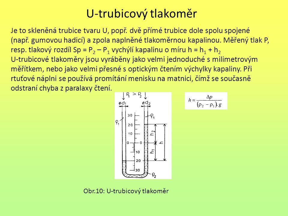 U-trubicový tlakoměr Je to skleněná trubice tvaru U, popř. dvě přímé trubice dole spolu spojené (např. gumovou hadicí) a zpola naplněné tlakoměrnou ka