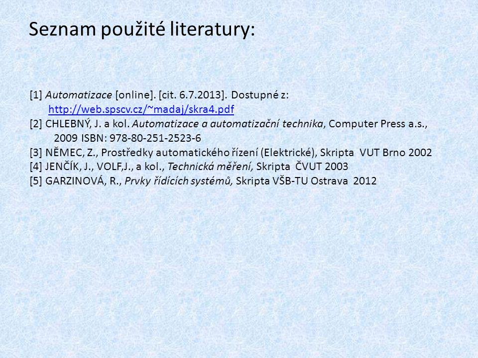 Seznam použité literatury: [1] Automatizace [online]. [cit. 6.7.2013]. Dostupné z: http://web.spscv.cz/~madaj/skra4.pdf [2] CHLEBNÝ, J. a kol. Automat