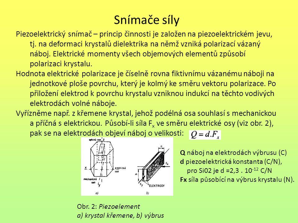Snímače síly Piezoelektrický snímač – princip činnosti je založen na piezoelektrickém jevu, tj. na deformaci krystalů dielektrika na němž vzniká polar
