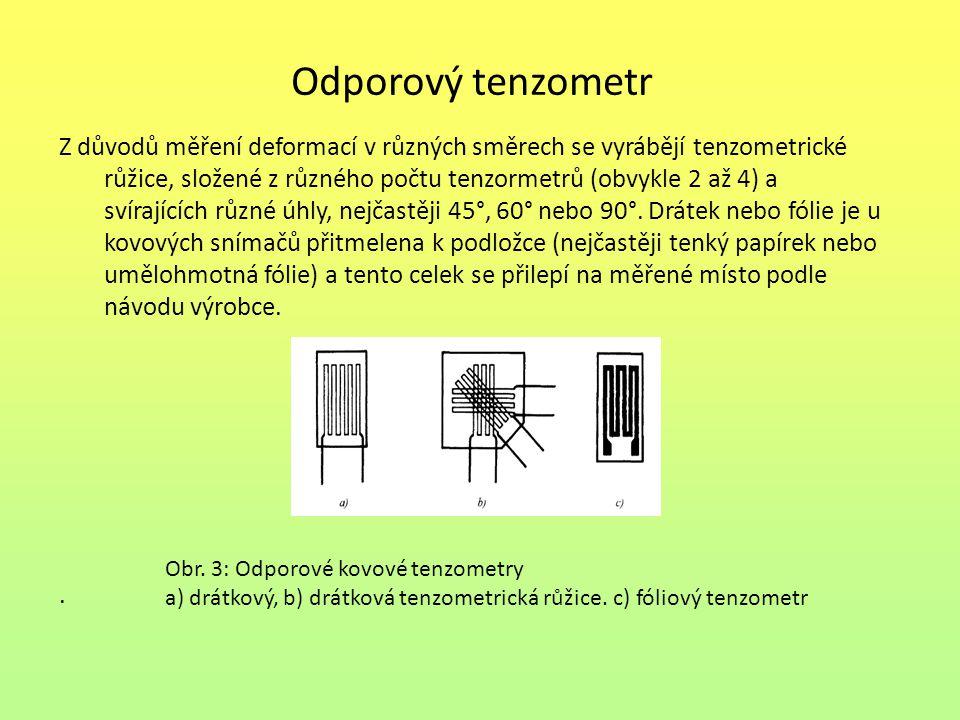 Odporový tenzometr Z důvodů měření deformací v různých směrech se vyrábějí tenzometrické růžice, složené z různého počtu tenzormetrů (obvykle 2 až 4)