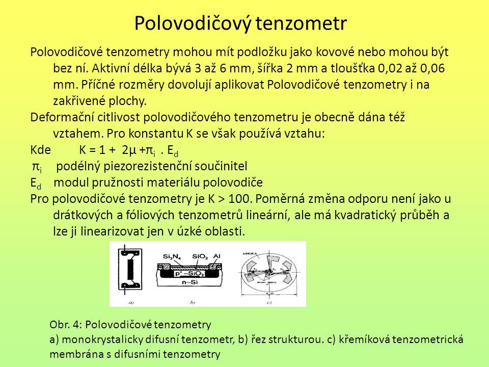 Polovodičový tenzometr Polovodičové tenzometry mohou mít podložku jako kovové nebo mohou být bez ní. Aktivní délka bývá 3 až 6 mm, šířka 2 mm a tloušť