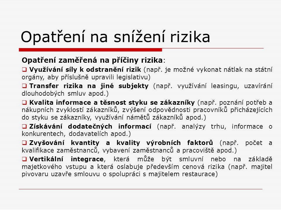 Opatření na snížení rizika Opatření zaměřená na příčiny rizika:  Využívání síly k odstranění rizik (např. je možné vykonat nátlak na státní orgány, a