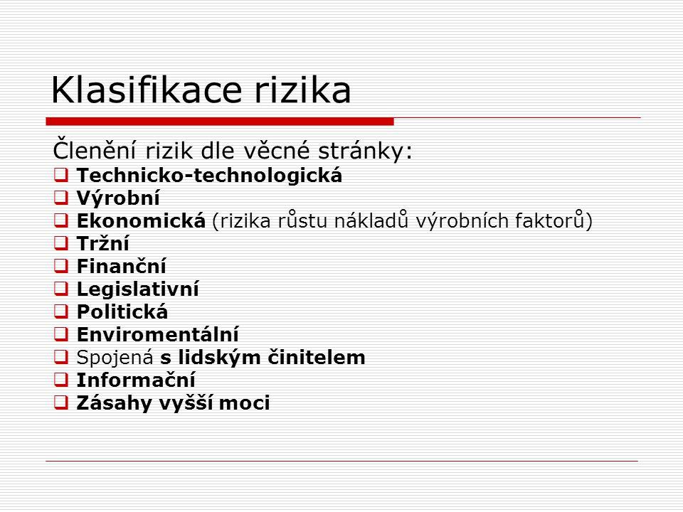 Klasifikace rizika Členění rizik dle věcné stránky:  Technicko-technologická  Výrobní  Ekonomická (rizika růstu nákladů výrobních faktorů)  Tržní