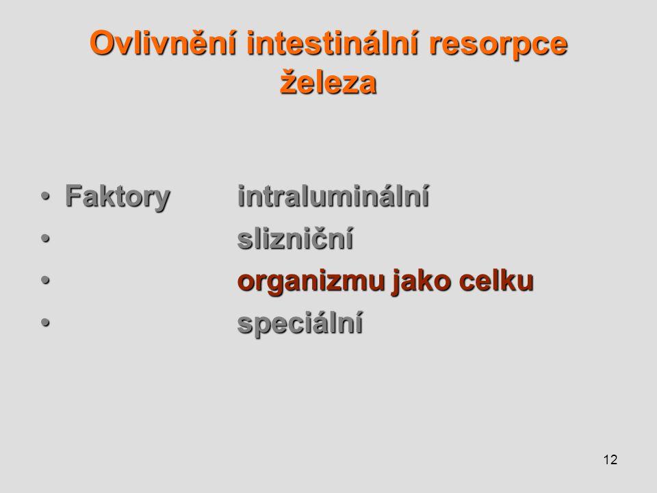 12 Ovlivnění intestinální resorpce železa Faktoryintraluminální slizniční organizmu jako celku speciální