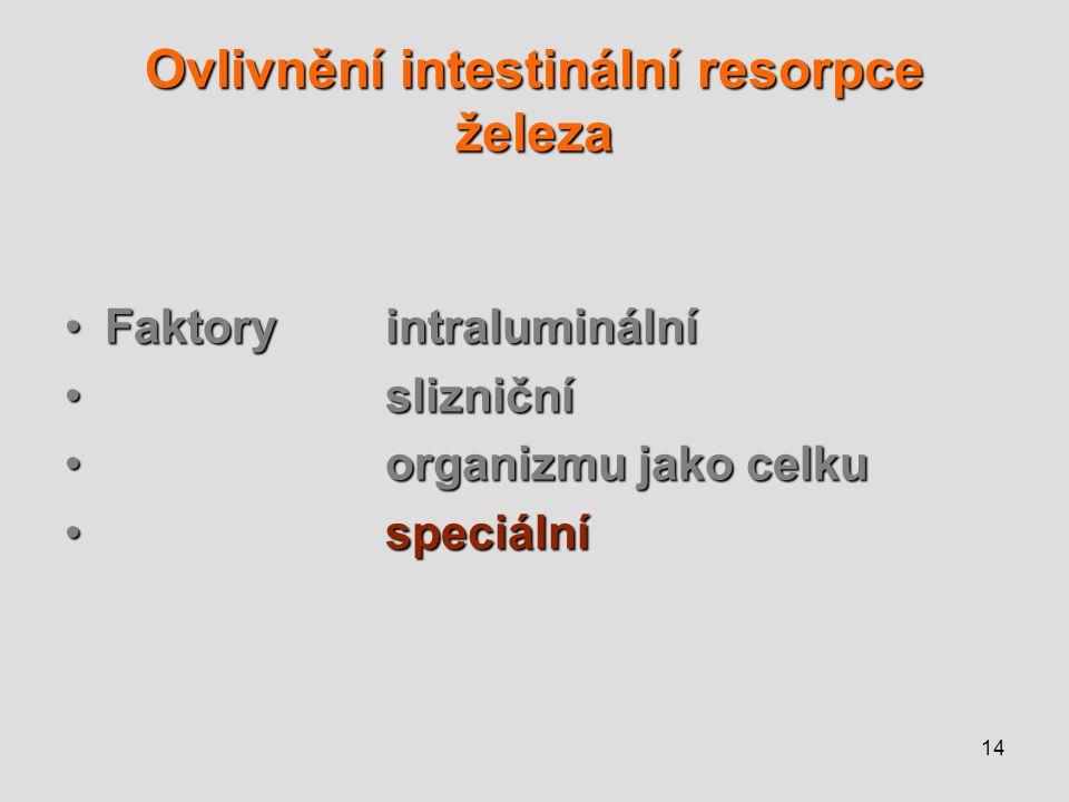 14 Ovlivnění intestinální resorpce železa Faktoryintraluminální slizniční organizmu jako celku speciální