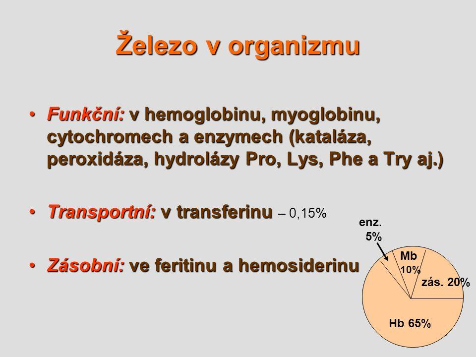 16 Železo v organizmu Funkční: v hemoglobinu, myoglobinu, cytochromech a enzymech (kataláza, peroxidáza, hydrolázy Pro, Lys, Phe a Try aj.)Funkční: v