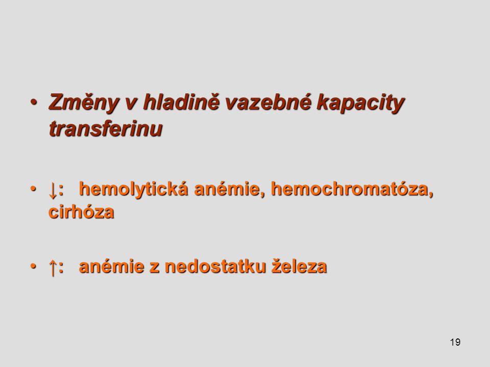 19 Změny v hladině vazebné kapacity transferinuZměny v hladině vazebné kapacity transferinu ↓:hemolytická anémie, hemochromatóza, cirhóza↓:hemolytická