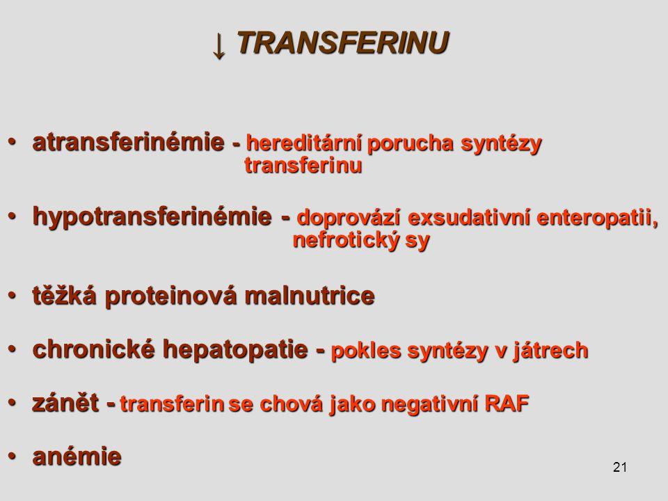 21 ↓ TRANSFERINU atransferinémie - hereditární porucha syntézy transferinuatransferinémie - hereditární porucha syntézy transferinu hypotransferinémie