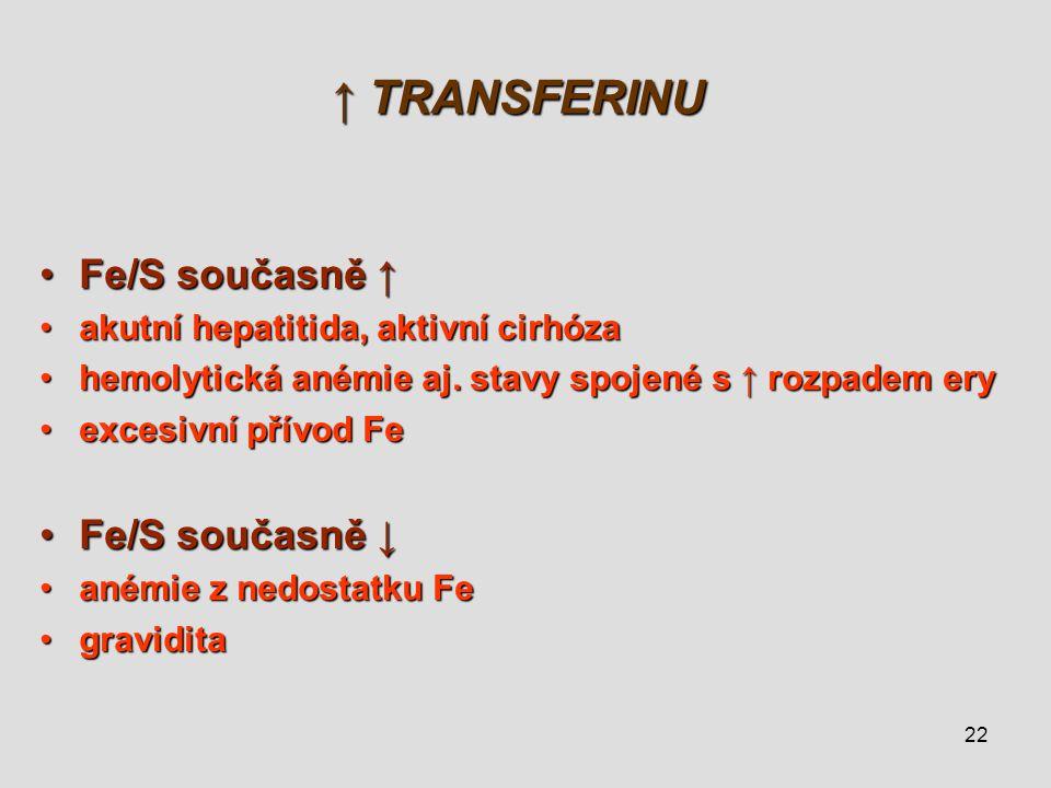 22 ↑ TRANSFERINU Fe/S současně ↑Fe/S současně ↑ akutní hepatitida, aktivní cirhózaakutní hepatitida, aktivní cirhóza hemolytická anémie aj. stavy spoj