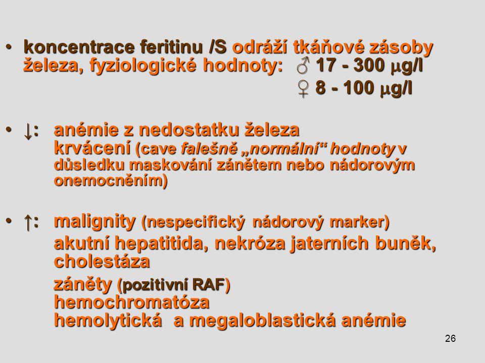 26 koncentrace feritinu /S odráží tkáňové zásoby železa, fyziologické hodnoty:♂ 17 - 300  g/lkoncentrace feritinu /S odráží tkáňové zásoby železa, fy