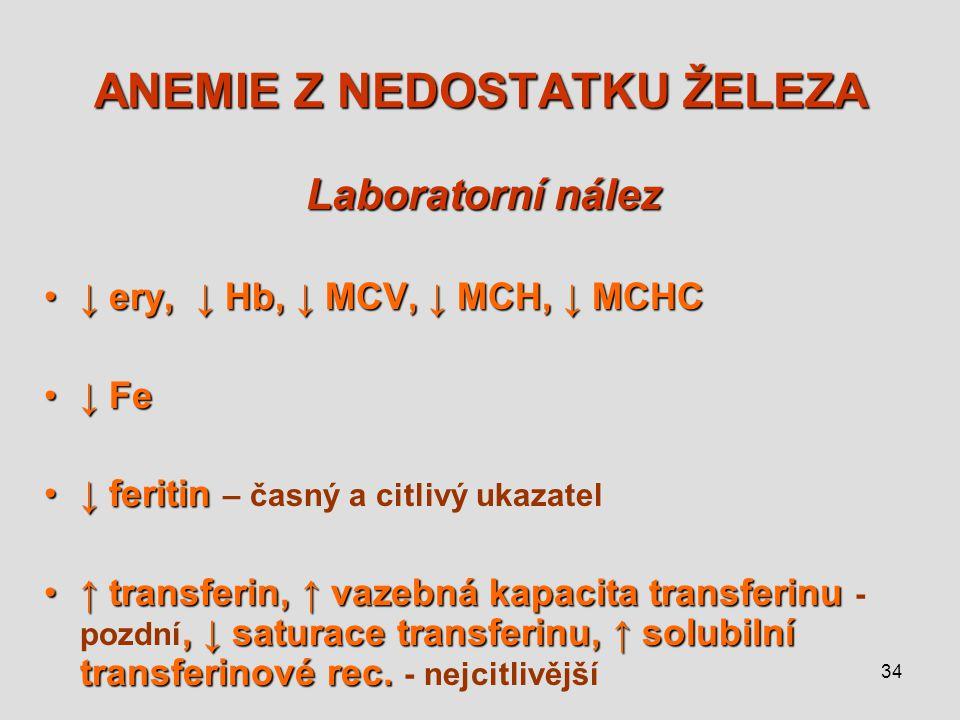 34 ANEMIE Z NEDOSTATKU ŽELEZA Laboratorní nález ↓ ery, ↓ Hb, ↓ MCV, ↓ MCH, ↓ MCHC↓ ery, ↓ Hb, ↓ MCV, ↓ MCH, ↓ MCHC ↓ Fe↓ Fe ↓ feritin↓ feritin – časný