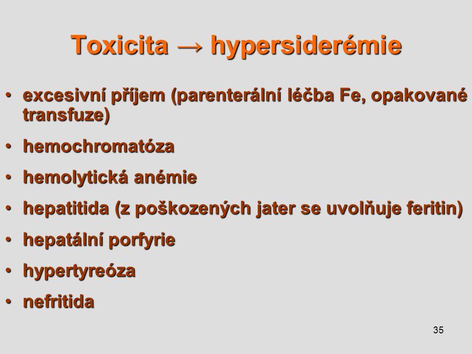 35 Toxicita → hypersiderémie excesivní příjem (parenterální léčba Fe, opakované transfuze)excesivní příjem (parenterální léčba Fe, opakované transfuze