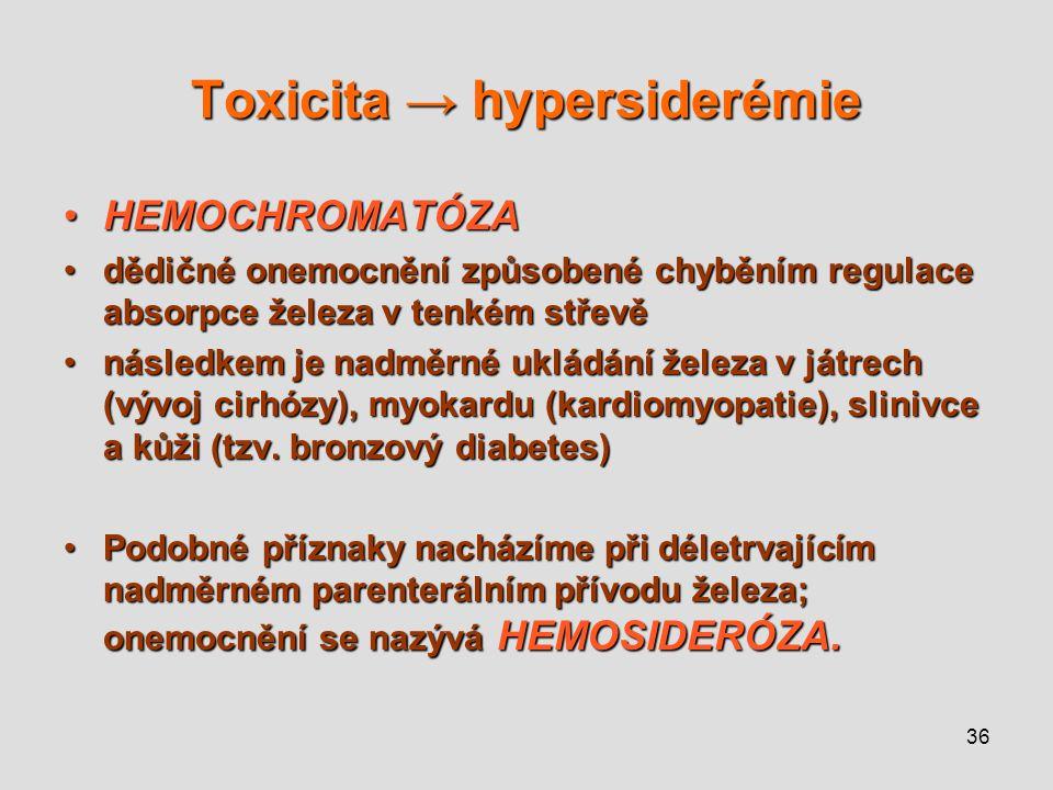 36 Toxicita → hypersiderémie HEMOCHROMATÓZAHEMOCHROMATÓZA dědičné onemocnění způsobené chyběním regulace absorpce železa v tenkém střevědědičné onemoc