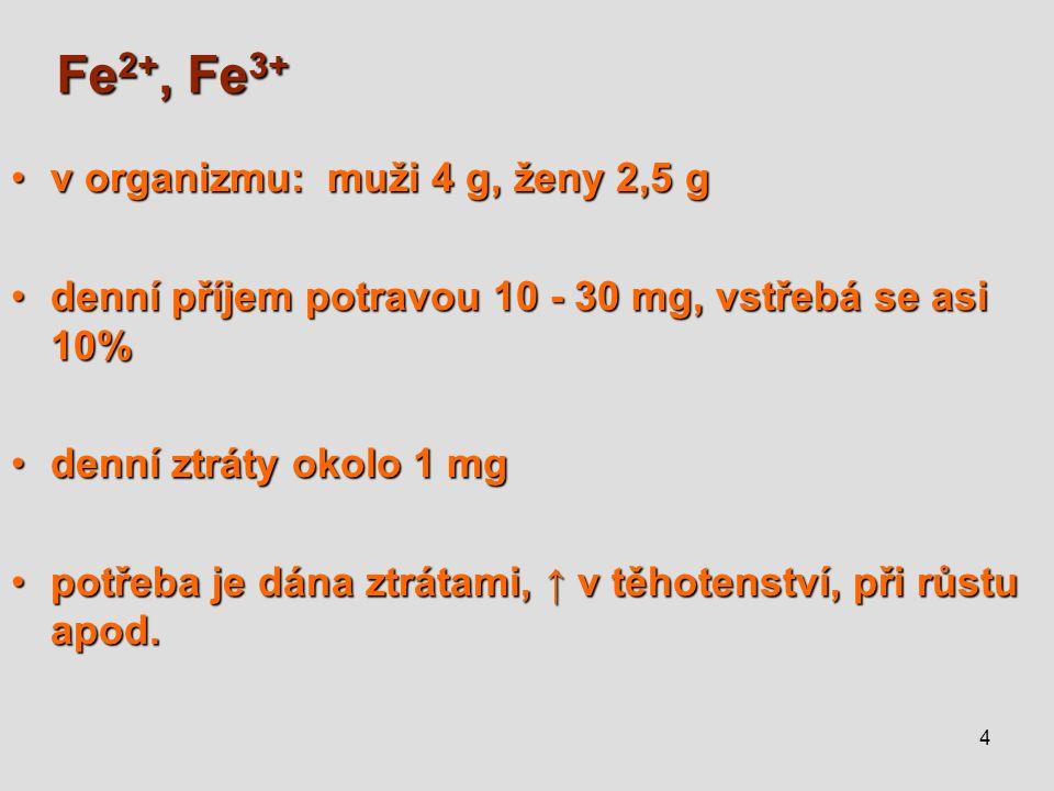 4 Fe 2+, Fe 3+ v organizmu:muži 4 g, ženy 2,5 gv organizmu:muži 4 g, ženy 2,5 g denní příjem potravou 10 - 30 mg, vstřebá se asi 10%denní příjem potra