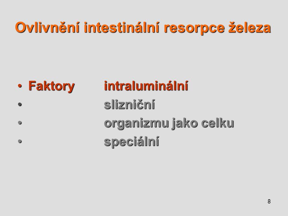 9 Ovlivnění intestinální resorpce železa – faktory intraluminální vstřebávání Fe zvýšenosníženo * obsah Fe v potravěvysokýnízký * chem.