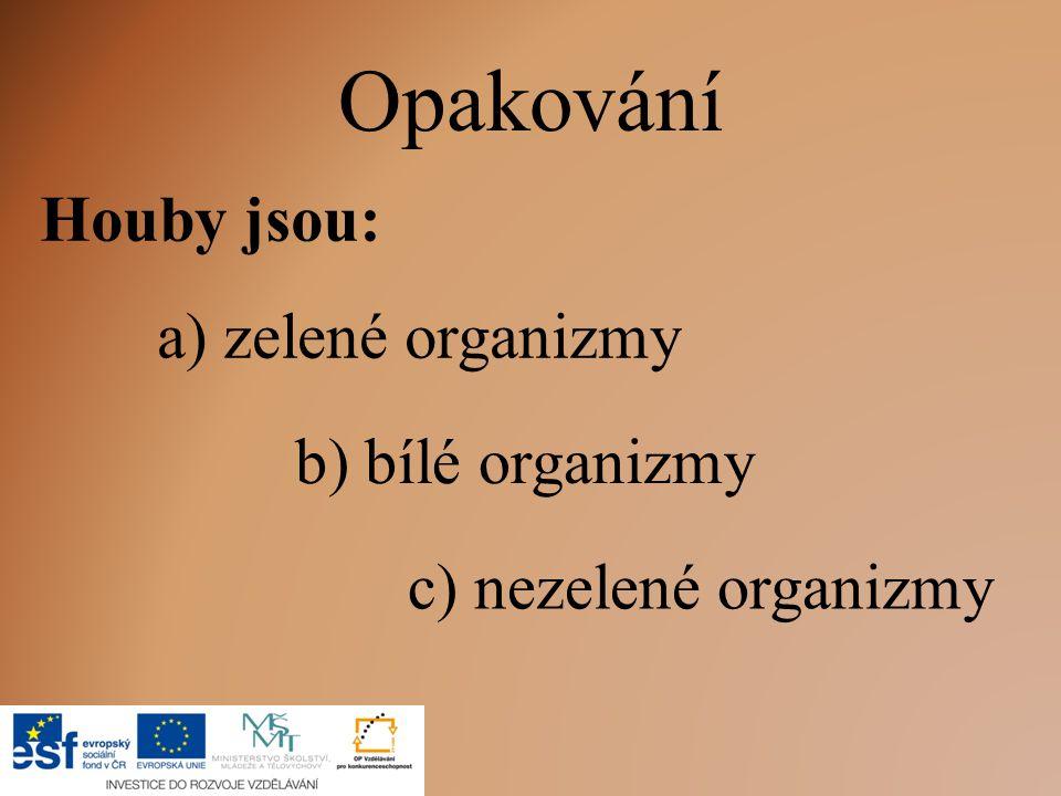 Opakování Houby jsou: c) nezelené organizmy a) zelené organizmy b) bílé organizmy