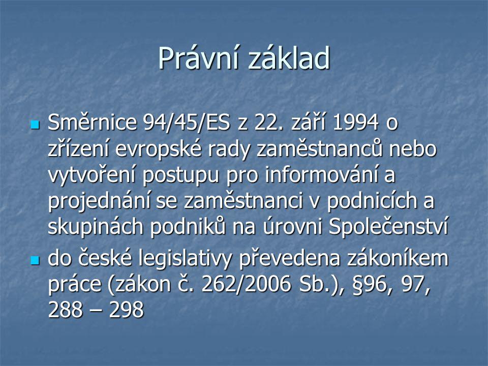 Právní základ Směrnice 94/45/ES z 22.