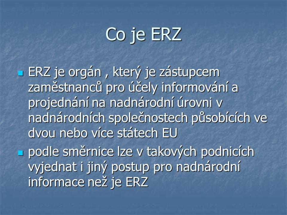 Co je ERZ ERZ je orgán, který je zástupcem zaměstnanců pro účely informování a projednání na nadnárodní úrovni v nadnárodních společnostech působících ve dvou nebo více státech EU ERZ je orgán, který je zástupcem zaměstnanců pro účely informování a projednání na nadnárodní úrovni v nadnárodních společnostech působících ve dvou nebo více státech EU podle směrnice lze v takových podnicích vyjednat i jiný postup pro nadnárodní informace než je ERZ podle směrnice lze v takových podnicích vyjednat i jiný postup pro nadnárodní informace než je ERZ
