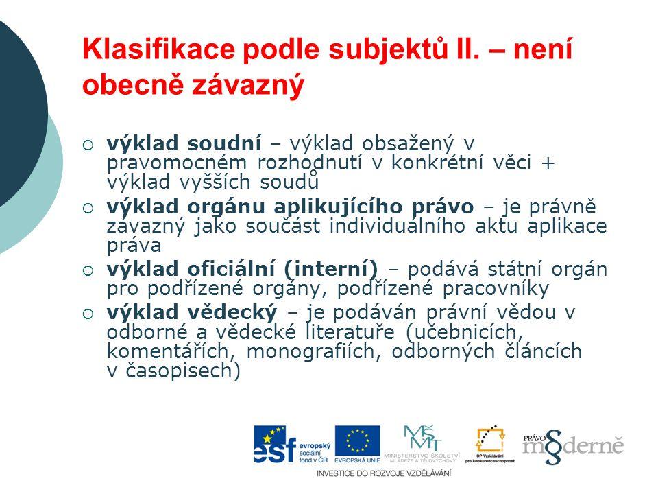 Klasifikace podle subjektů II.