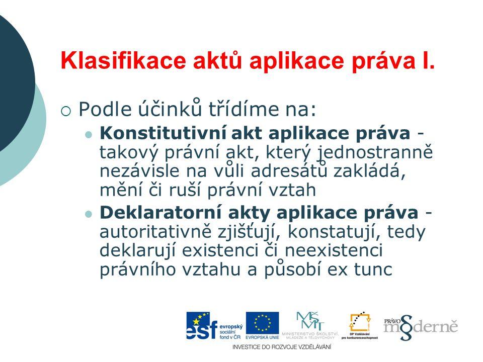 Klasifikace aktů aplikace práva I.