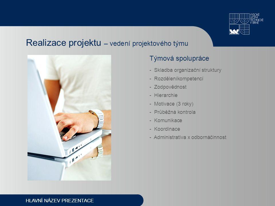 Týmová spolupráce - Skladba organizační struktury - Rozděleníkompetencí - Zodpovědnost - Hierarchie - Motivace (3 roky) - Průběžná kontrola - Komunika