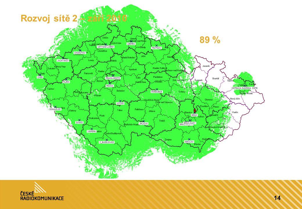 14 Rozvoj sítě 2 – září 2010 89 %