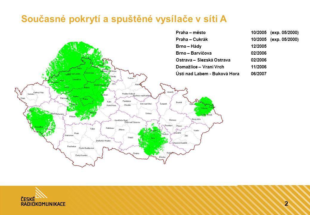 2 Současné pokrytí a spuštěné vysílače v síti A Praha – město10/2005 (exp. 05/2000) Praha – Cukrák10/2005 (exp. 05/2000) Brno – Hády12/2005 Brno – B