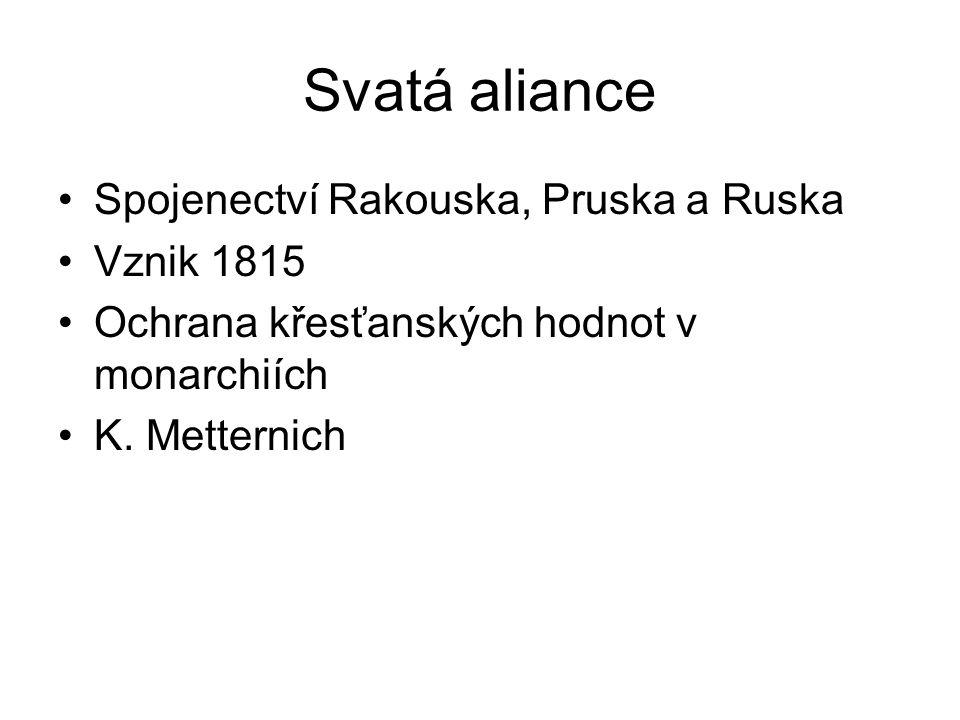 Svatá aliance Spojenectví Rakouska, Pruska a Ruska Vznik 1815 Ochrana křesťanských hodnot v monarchiích K. Metternich