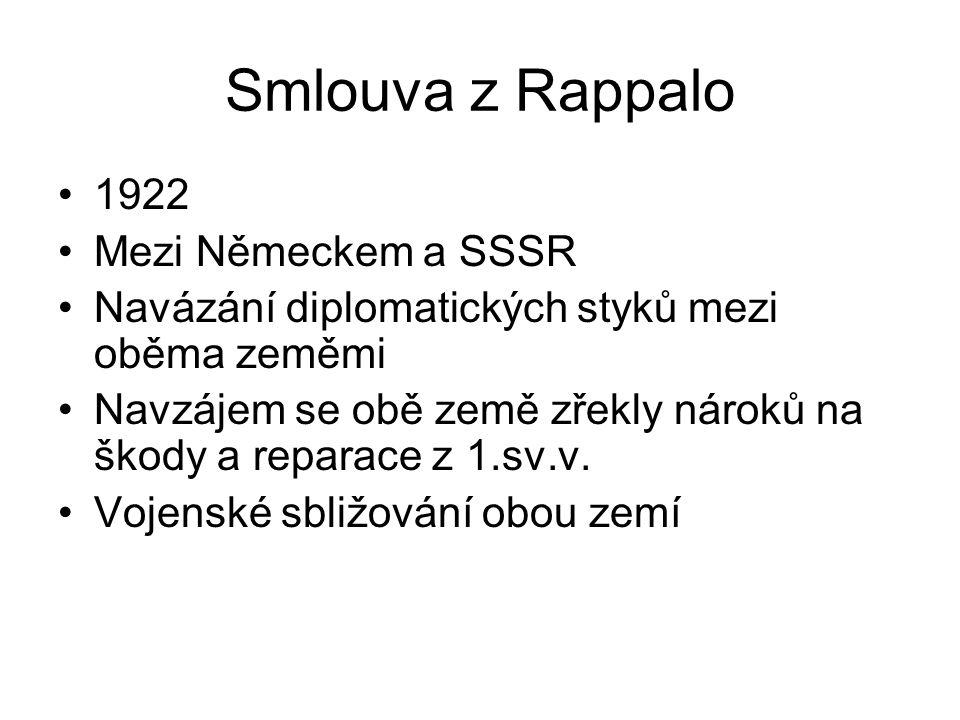 Smlouva z Rappalo 1922 Mezi Německem a SSSR Navázání diplomatických styků mezi oběma zeměmi Navzájem se obě země zřekly nároků na škody a reparace z 1.sv.v.