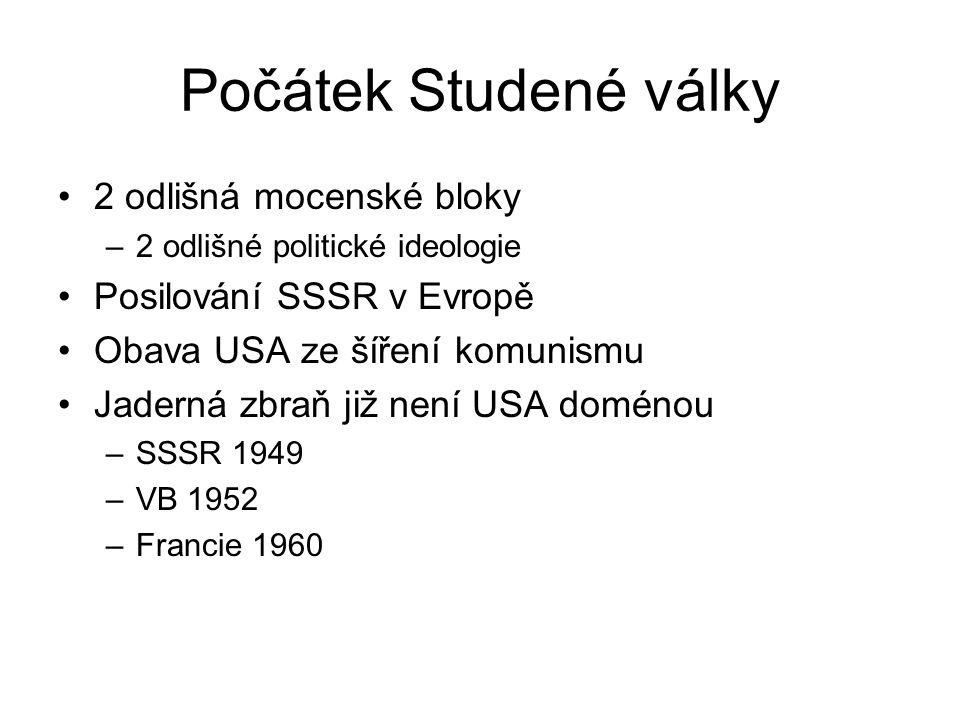 Počátek Studené války 2 odlišná mocenské bloky –2 odlišné politické ideologie Posilování SSSR v Evropě Obava USA ze šíření komunismu Jaderná zbraň již není USA doménou –SSSR 1949 –VB 1952 –Francie 1960