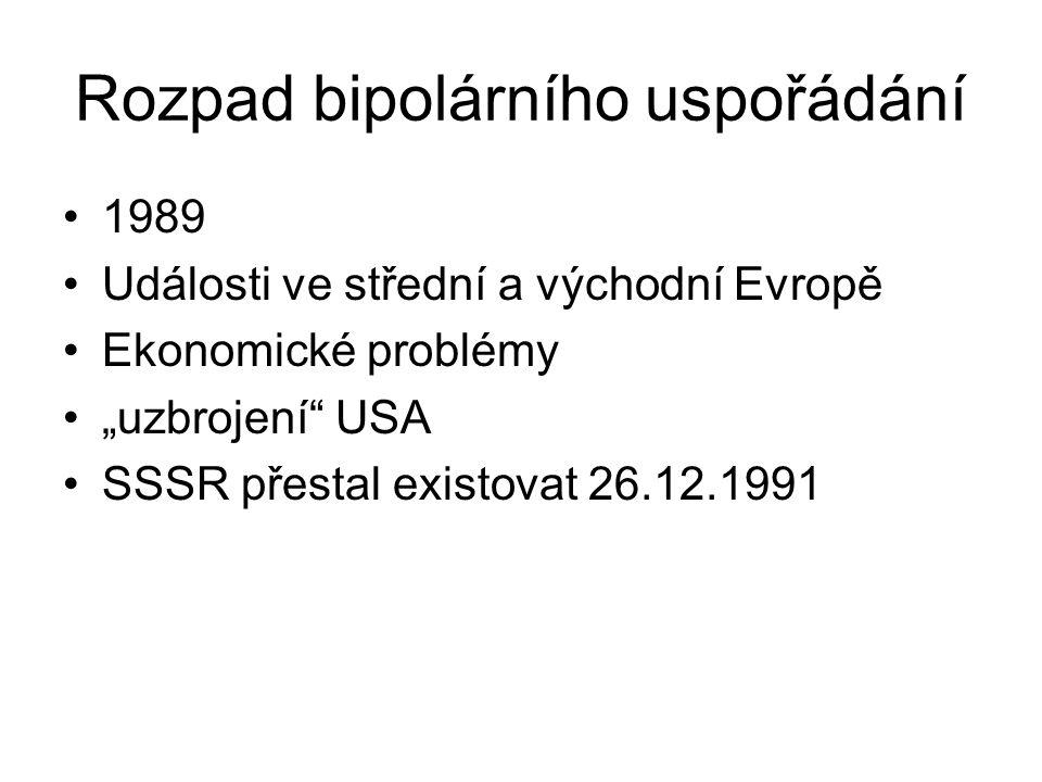 """Rozpad bipolárního uspořádání 1989 Události ve střední a východní Evropě Ekonomické problémy """"uzbrojení USA SSSR přestal existovat 26.12.1991"""