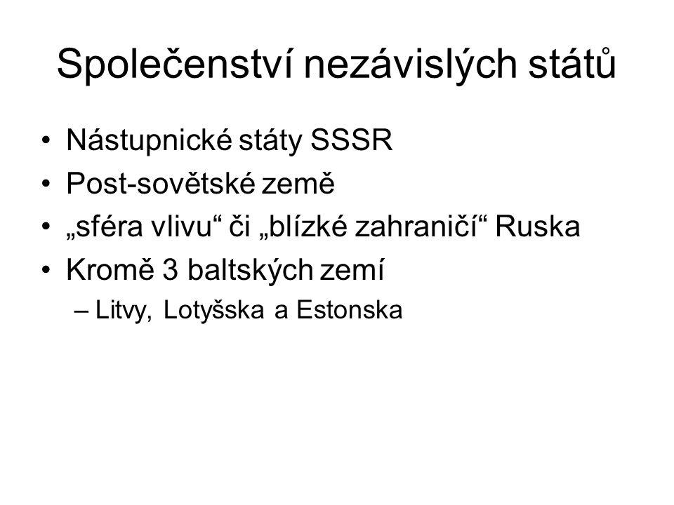 """Společenství nezávislých států Nástupnické státy SSSR Post-sovětské země """"sféra vlivu"""" či """"blízké zahraničí"""" Ruska Kromě 3 baltských zemí –Litvy, Loty"""