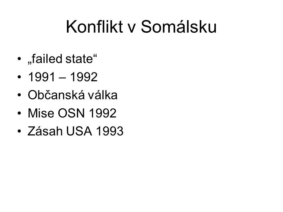 """Konflikt v Somálsku """"failed state 1991 – 1992 Občanská válka Mise OSN 1992 Zásah USA 1993"""