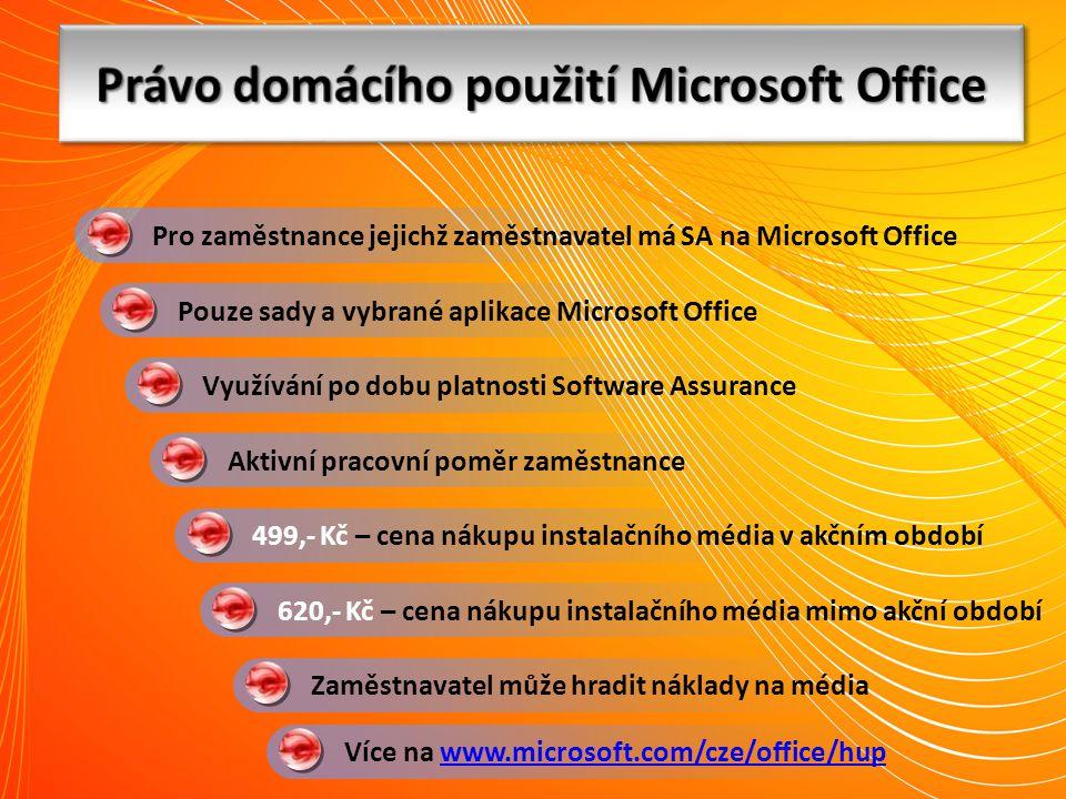 Více na www.microsoft.com/cze/office/hupwww.microsoft.com/cze/office/hup 499,- Kč – cena nákupu instalačního média v akčním období Pouze sady a vybran